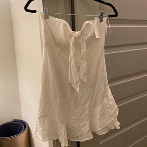 Strapless ruffle white dress size m